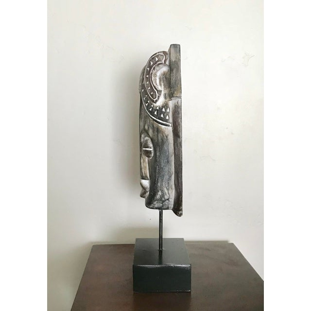 Early 21st Century African Mask on a Wood Stand For Sale - Image 5 of 7