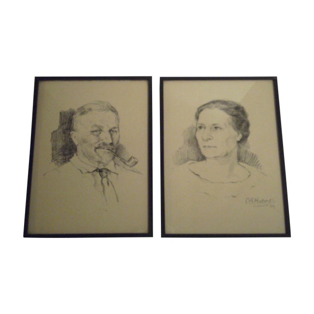 1924 Sketches Signed by C.H. Hotreds - A Pair - Image 1 of 8