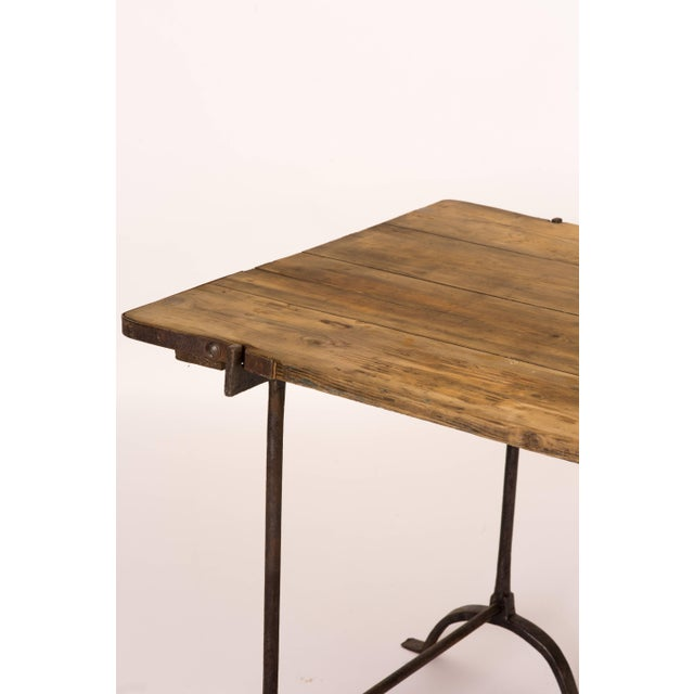 1850s England Trestle Table With Iron Legs and Oakwood Top For Sale - Image 4 of 9