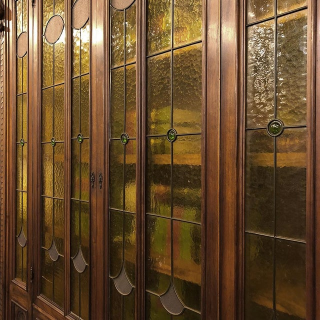 Grand 19th Century Italian Renaissance Stained Glass Bookcase For Sale - Image 12 of 13