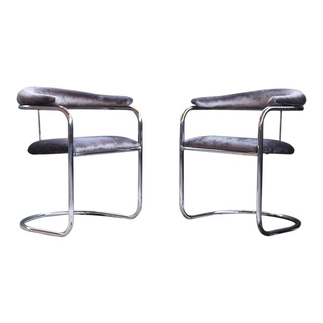 Mid Century Modern Anton Lorenz for Thonet Bent Chrome Cantilever Chairs - a Pair For Sale