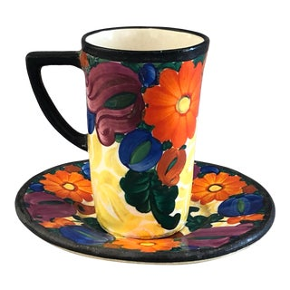 1920s Mrazek Czech Pottery Cup and Saucer For Sale