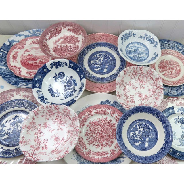 Cottage Mismatched Ironstone China Set, Service for 6 For Sale - Image 3 of 11