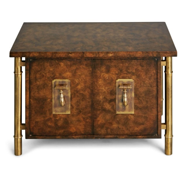 Mastercraft 1960s Mastercraft Burled Wood & Brass Side or End Table by William Doezema For Sale - Image 4 of 11