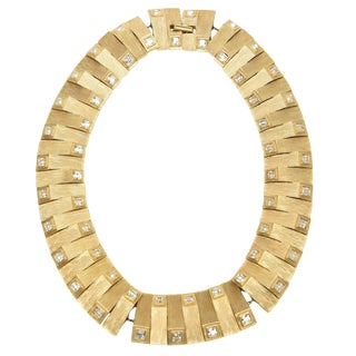 Satin Brushed Gold Plated Metal With Rhinstone Reticulated Collar Necklace For Sale