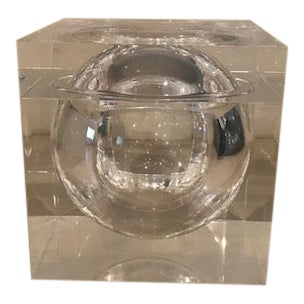 Lucite Cube Lidded Box or Ice Bucket For Sale