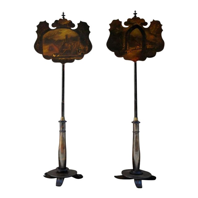 Pair of 19th Century English William IV Painted Papier Mâché Firescreeens For Sale
