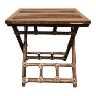 McGuire Pinch Finger Folding Table For Sale