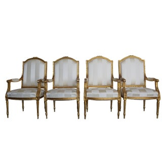 Mid-19th Century Napoleon III French Armchairs - Set of 4 For Sale