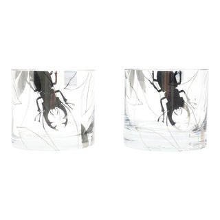 Leonardo Germany Glass Hurricane Candle Holder With Beetle and Lotus Flowers - a Pair For Sale