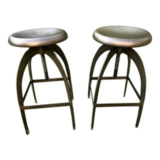 Industrial Adjustable-Height Metal Swivel Stools - A Pair For Sale