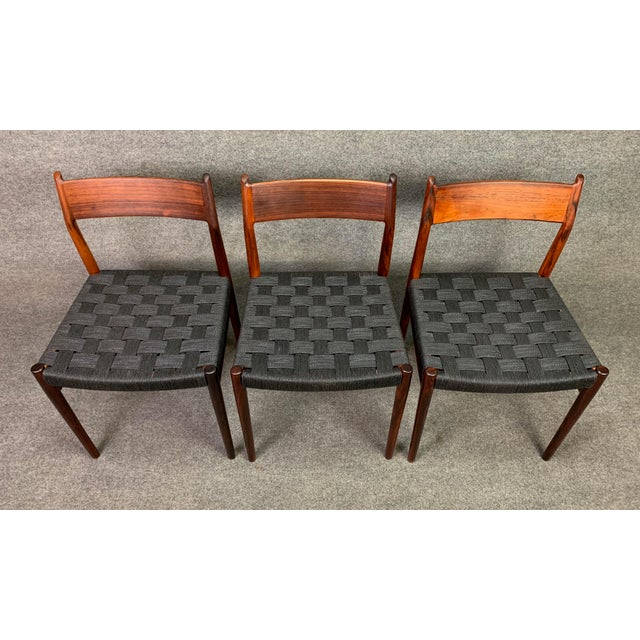 Black Set of Six Vintage Mid Century Danish Modern Rosewood Dining Chairs Model #418 by Arne Vodder for Sibast For Sale - Image 8 of 12