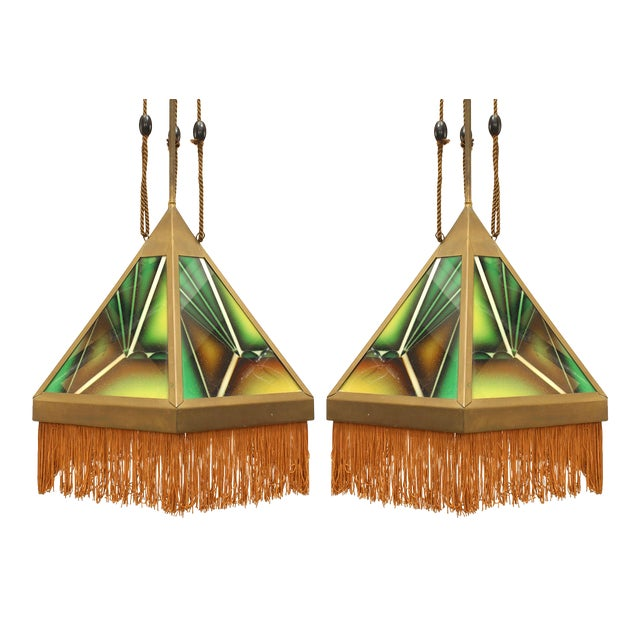 Art Deco Green Glass Fringed Lanterns - a Pair For Sale