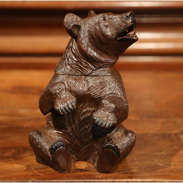 19th Century Swiss Carved Black Forest Tobacco Bear Sculpture With Glass Eyes For Sale - Image 11 of 11