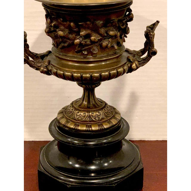 Grand Tour Bronze and Marble Acorn Motif Urn For Sale - Image 11 of 13