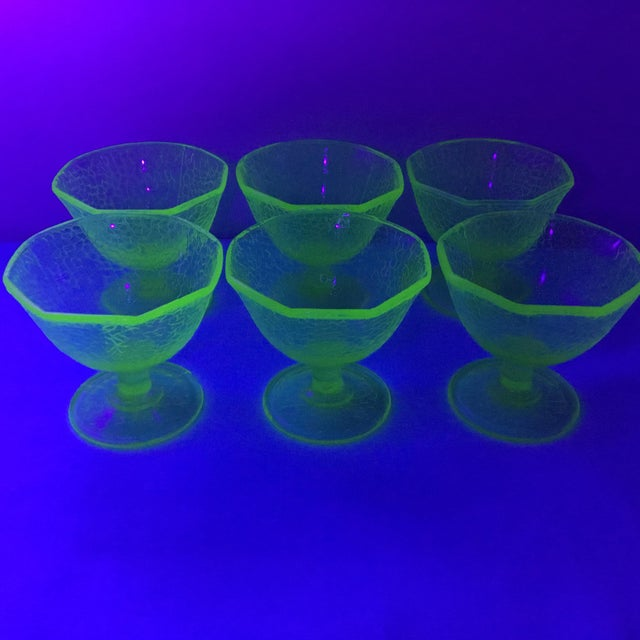 Cracked Uranium Lime Green Glass Dishes - Set of 6 For Sale - Image 10 of 11