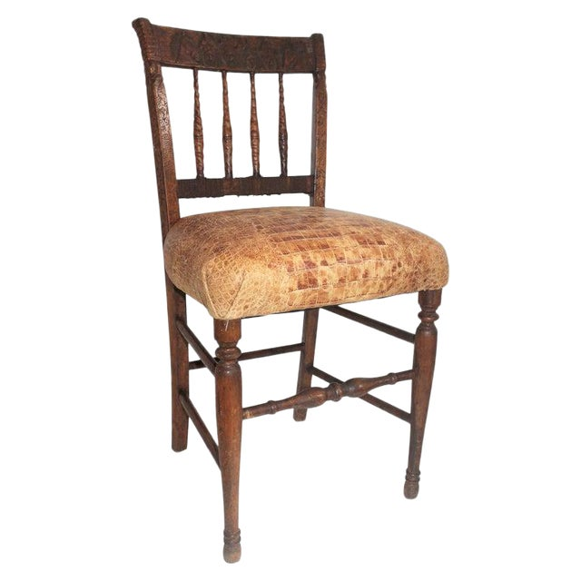 19th Century Handmade English Chess Carved Chair For Sale