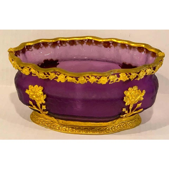 Ormolu Mounted Baccarat Amethyst Chipped Ice Centerpiece For Sale - Image 4 of 12