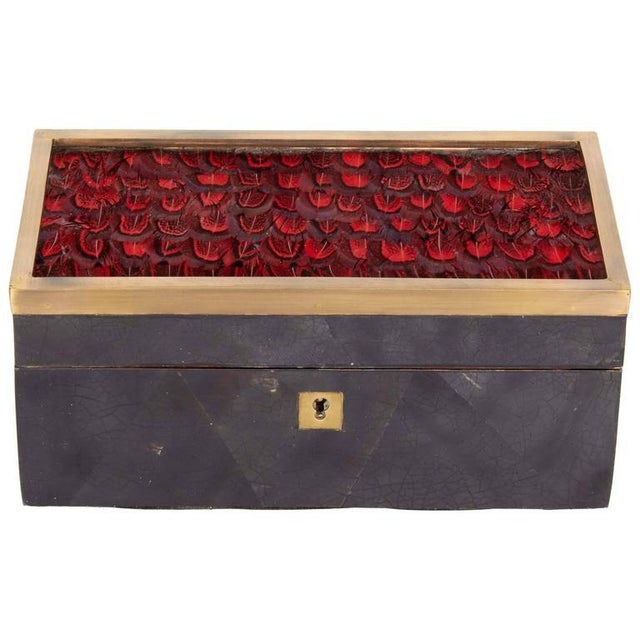 Organic Modern Decorative Box in Lacquered Pen Shell and Exotic Red Feathers For Sale - Image 9 of 9