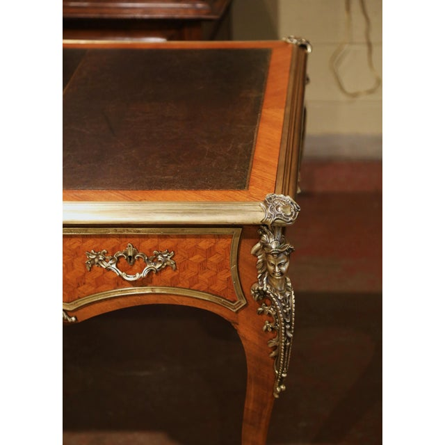 19th Century French Louis XV Marquetry and Bronze Bureau Plat With Leather Top For Sale - Image 11 of 13
