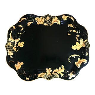 1950s Black and Gold Hand Painted Scalloped Steel Serving Tray For Sale