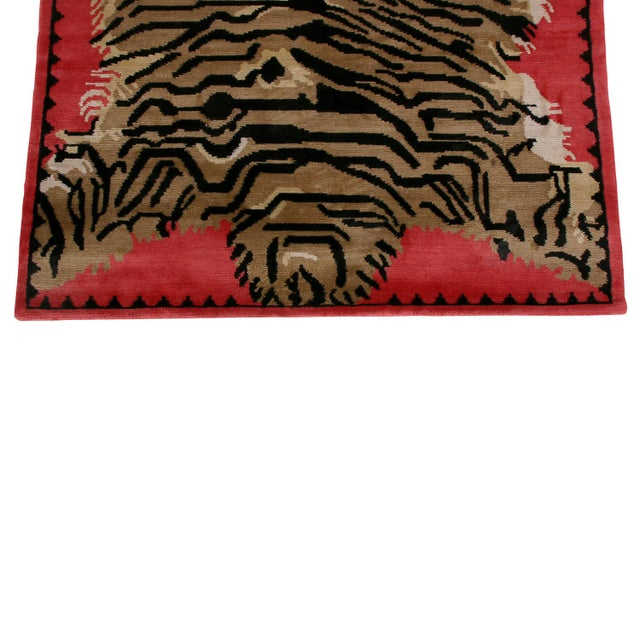 Modern Tiger Pictorial Red Orange and Black Wool and Silk Rug For Sale - Image 3 of 7