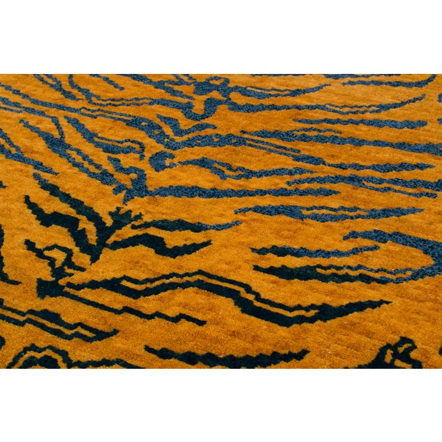 Asian Indigo Blue and Gold Wool Tiger Rug-3′ × 6′ For Sale - Image 3 of 8