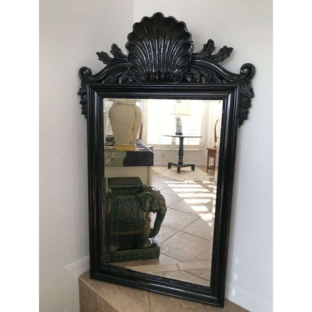 Coastal Regency Ornate Scalloped Shell Black Lacquered Mirror For Sale - Image 12 of 13