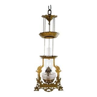 1980s Victorian Adjustable Brass Oil Lamp Pendant Light For Sale