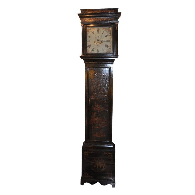 19th Century English Chinoiserie Case Clock For Sale
