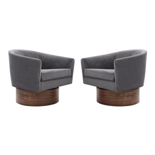 Milo Baughman Rosewood Base Swivel Chairs in Mohair - a Pair For Sale
