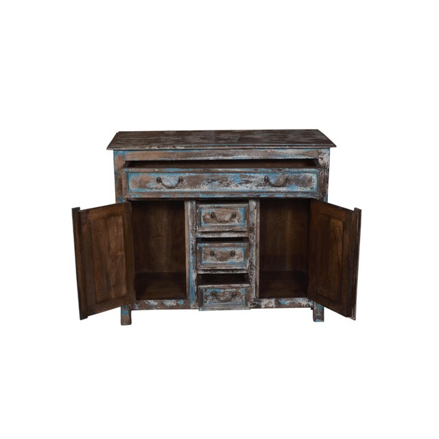 Rustic Rustic Wood Caine Cabinet For Sale - Image 3 of 4