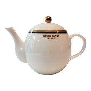 David Hicks of London Petite Teapot With Deco Design Motif For Sale