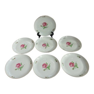 "Furstenberg ""Rose Bud"" Porcelain Salad Plates - Set of 7 For Sale"