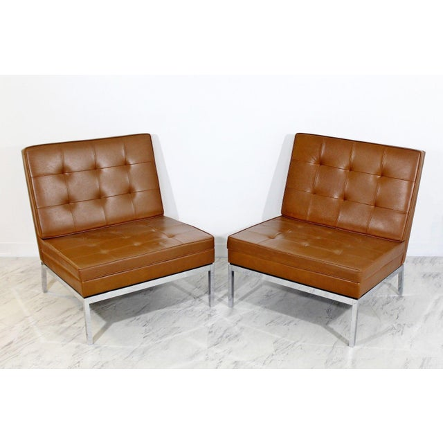 Mid-Century Modern Mid Century Modern Pair Vintage Knoll Chrome Leather Slipper Chairs Model #65 For Sale - Image 3 of 10