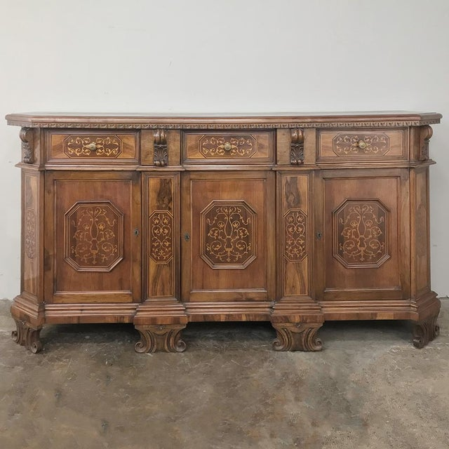 Antique Italian Baroque Inlaid Walnut Buffet For Sale - Image 13 of 13