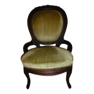 Victorian Style Mahogany Rose Flower Upholstered Slipper Chair For Sale