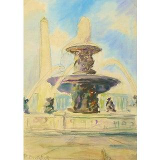 P. Bourlier, Vintage French Watercolor - Place De La Concorde, Paris For Sale
