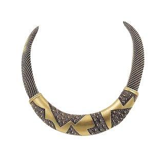 1980s Monet Modernist Zig Zag Necklace For Sale