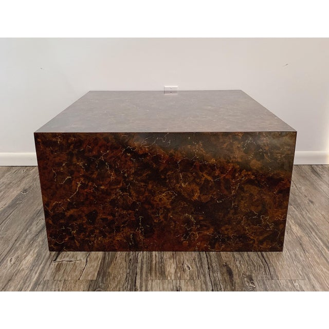 1970s Mid-Century Modern Faux Stone Cube Coffee Table For Sale In Minneapolis - Image 6 of 6