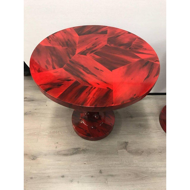 Serge Roche Style Art Deco Red Laquer Palm Tree Tables For Sale - Image 4 of 8