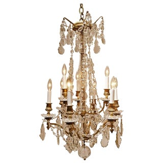 Louis XV Style Nine-Light Gilt Bronze and Crystal Chandelier For Sale