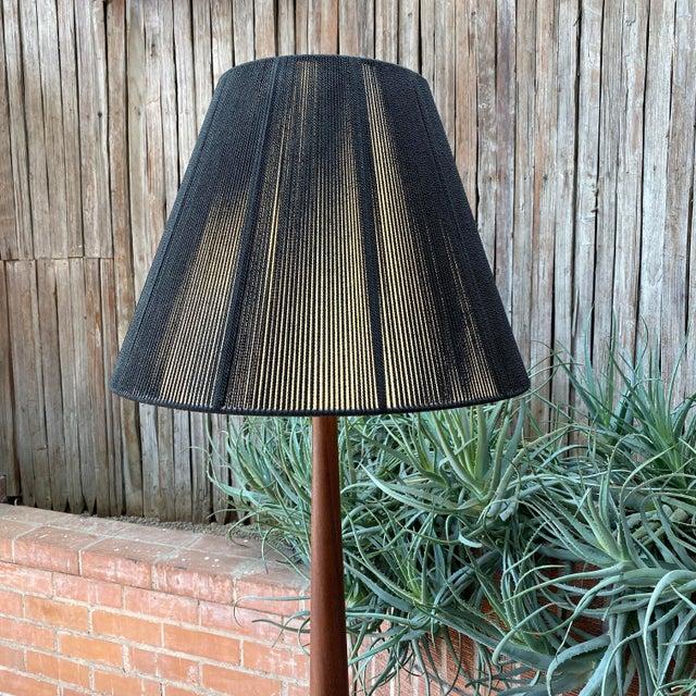 Vintage Danish Modern Teak Floor Lamp With Period Black String Shade For Sale - Image 4 of 13