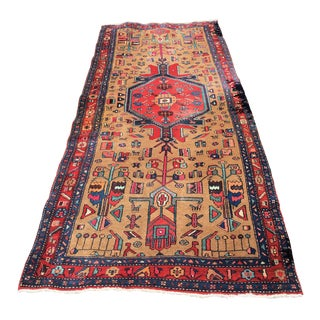 Vintage Hand Knotted Hamadan Persian Traditional Rug - 4′4″ × 10′4″