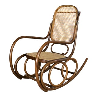 Vintage Stendig Bentwood and Cane Rocker Double Circle Design With Handle by Thonet For Sale