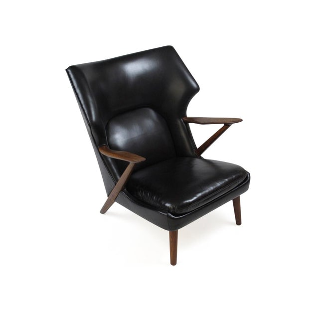 Mid 20th Century Kurt Olsen Danish Rosewood Black Leather Bear Chair For Sale - Image 5 of 11