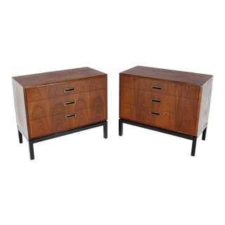 Pair of Walnut Book Matched Fronts Three Drawers Bachelor Chests Ebonized Base For Sale
