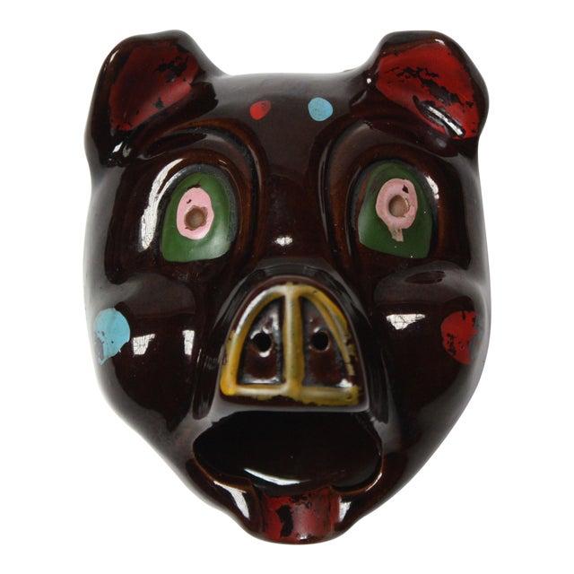 Hand-Painted Folk Art Porcelain 'Pig' Ashtray For Sale