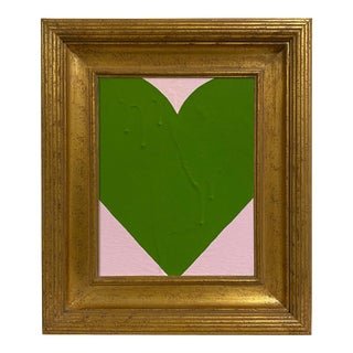 Ron Giusti Mini Heart Light Pink Kelly Acrylic Painting, Framed For Sale