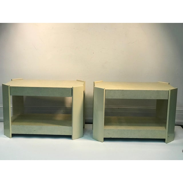 Paint Modern Cream Lacquered Faux Goat Skin Night Stands - a Pair For Sale - Image 7 of 7